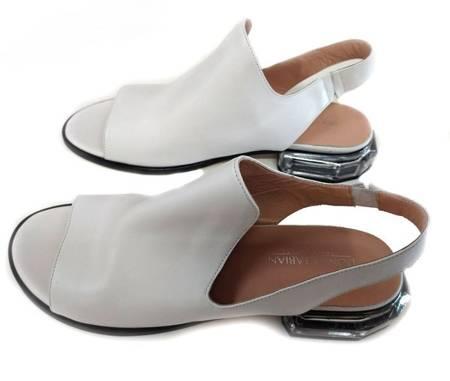 Sandały biała skóra dekoracyjny obcas MARGO Donna Fabiani 40 OSTATNIA PARA