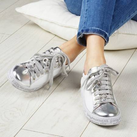 Włoskie biało srebrne skórzane trampki z diamencikami